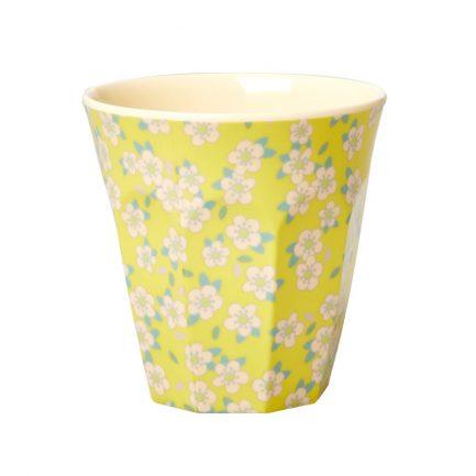 Gobelet, Fleurs fond jaune, Rice
