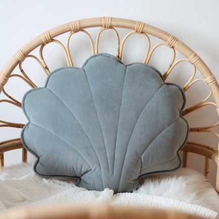 Coussin coquillage, Gray mint, Moi Mili (grand)